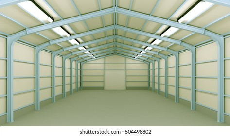 Empty Warehouse inside, 3d illustration