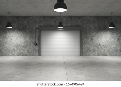 Empty warehouse interior with concrete flooring, lamps on ceiling and rolling gates, 3D Rendering