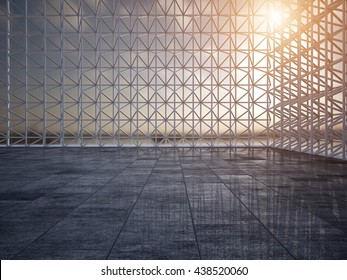 Empty warehouse scaffolding car stage 3D rendering