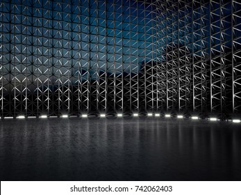 Empty warehouse scaffolding modern stage 3D illustration