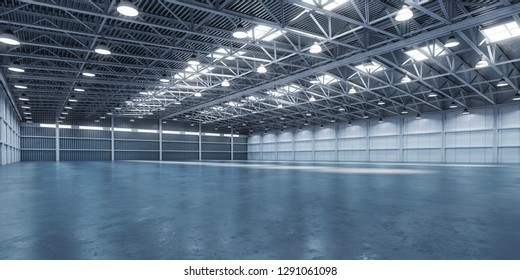 Empty warehouse or storehouse. 3d illustration