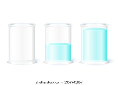 Empty water glass on a white background. Pessimism, realism and Optimism (Is the glass half-full or half-empty?). illustration for your design, educational, and science use