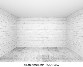 Empty white 3d room interior background with brick walls and concrete floor