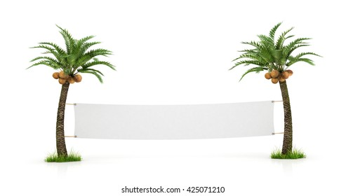 Empty white banner stretched between two palm trees. Concept  travel.  3d  illustration