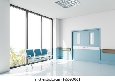 Empty white and blue hospital corridor corner with ward doors and row of chairs for patients near big window. 3d rendering