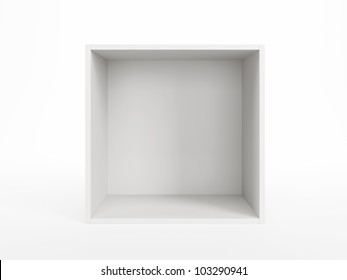 empty white box isolated 3d render