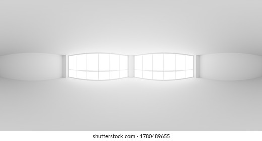 Empty white business office room with empty space and light from large windows HDRI environment map, white colorless 360 degrees spherical panorama background, 3d illustration