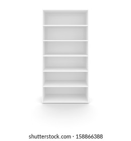 Empty white cabinet isolated on white background with soft shadow