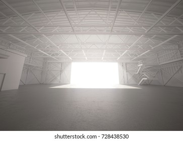 Empty white clean hangar interior with bright sunlight. Skeleton frame of white stock storage factory. Low angle view blank background. 3d render