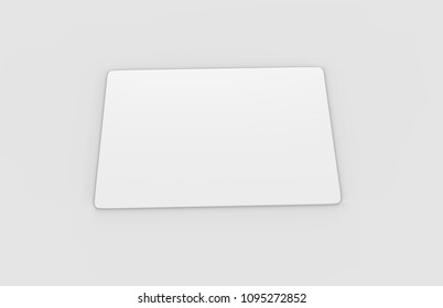 Empty White Credit Card realistic mockup isolated on light grey background, 3d illustration