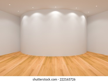 Empty White Curve Room with Wooden Floor