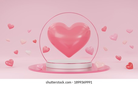 Empty white cylinder podium with pink border, hearts balloons, circle on arch and copy space background. Valentine's Day interior with pedestal. Mockup space for display of product. 3d rendering.