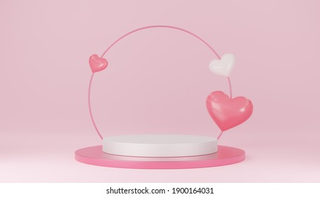 Empty white cylinder podium with pink circle, 3 hearts balloons on arch and copy space background. Valentine's Day interior with pedestal. Mockup space for display of product. 3d rendering.