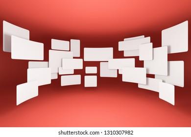 Empty white frame on coral background. 3D illustration.