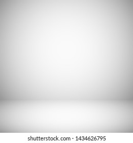 Empty white and gray light studio room interior. 3d plain grey soft gradient background. Studio room light, interior of grey gradient empty space