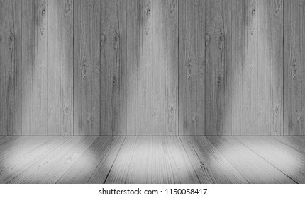 Empty white gray wooden wall and old wood floor. backdrop background