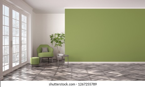 Empty white and green interior with big panoramic window, armchair, pouf, table and plant. Herringbone parquet floor, classic contemporary design, concept idea, copy space background, 3d illustration