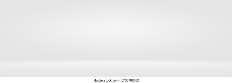 Empty white and grey studio backdrop background