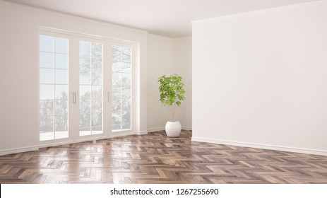 Empty white interior with big panoramic window, winter panorama with snow and tree, herringbone parquet floor, classic contemporary design, concept idea, copy space blank background, 3d illustration