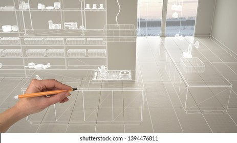 Empty white interior with white ceramic marble tiles floor, hand drawing custom architecture design, white ink sketch, blueprint showing modern minimalist kitchen, concept mockup idea, 3d illustration