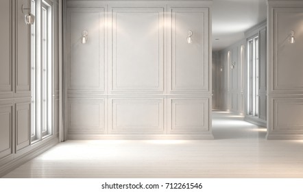 Empty white interior classic, mock-up, 3D render 3D illustration