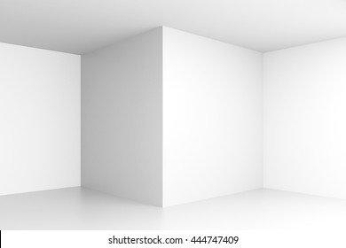 Empty white interior with corners and blank walls. Mock up, 3D Rendering
