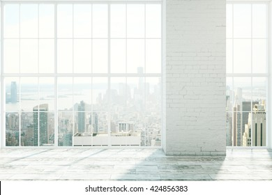 Empty white interior design with framed windows, wooden floor and blank  brick wall. Mock up, 3D Rendering