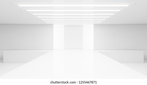 Empty white interior. Fashion podium. Catwalk runway stage. Elegance pedestal platform. 3D Rendering