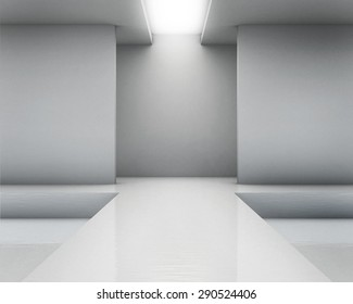 Empty white interior. Fashion podium.