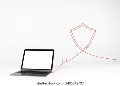 Empty white laptop with abstract shield shaped cable. Mock up and protection concept. 3D Rendering