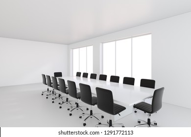 Empty white large meeting room with leather chairs and a table. 3d rendering.