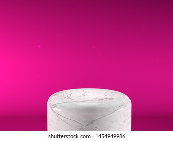 Empty white marble podium on nice background, product display with copy space for display of content design.Banner for advertise product on website