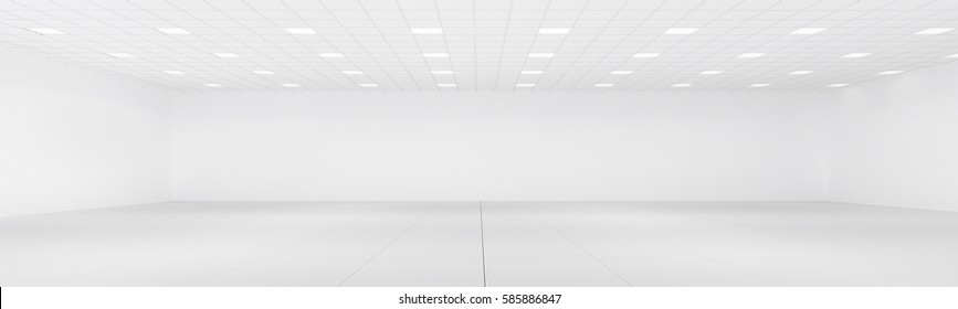 Empty white office room panorama with neon lights and white wall 3d rendering