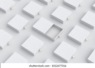 Empty white opened sliding box and blank closed sliding drawer boxes set on white background. 3d illustration.