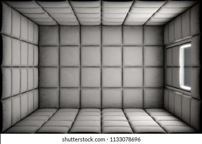 An empty white padded cell in a mental hospital - 3D render