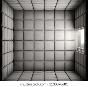 An empty white padded cell with an open door in a mental hospital - 3D render