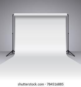 Empty white photo studio backdrop. Realistic photographer studio backdrop