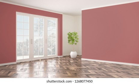 Empty white and pink interior with panoramic window, winter panorama with snow, herringbone parquet floor, classic contemporary design, concept idea, copy space blank background, 3d illustration
