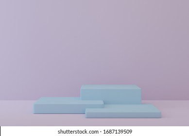Empty white podium with hipster abstract background, 3d illustration pedestal for display composition, ,mock up cosmetic presentation platforms for creative Minimal concept.