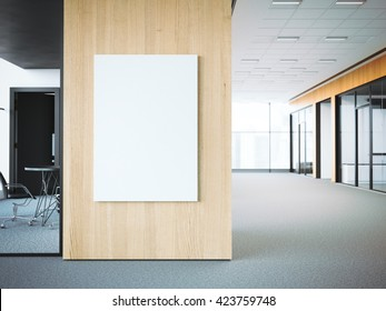 Empty white poster on the office wooden wall. 3d rendering