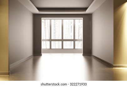 Empty white room with interior decoration. In the room there is artificial light outside the window winter wood. 3d illustration