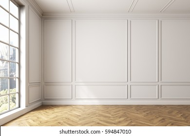 Empty white room interior with light wooden floor, white walls and a large window. Cityscape. 3d rendering, mock up