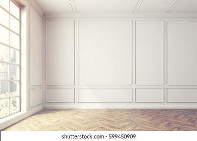 Empty white room interior with light wooden floor, white walls and a large window. Cityscape. Sunlight. 3d rendering, mock up