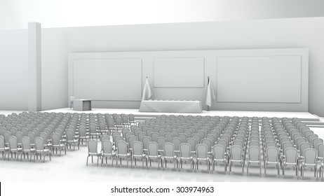 Empty white room for meetings
