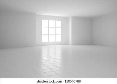 Empty white room with square windows and tiled floor