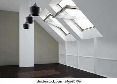 Empty white room in top floor apartment with open windows (3D Rendering)