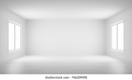 empty white room with two windows 3d rendering