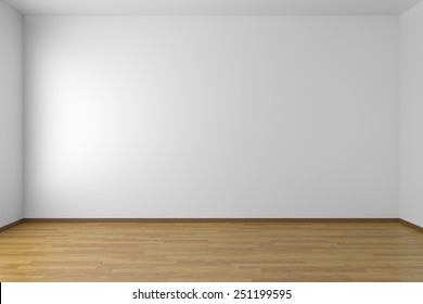 Empty white room with white walls and wooden parquet floor, 3D illustration