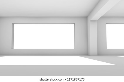 Empty white room with wide windows, abstract interior background, architectural 3d render illustration