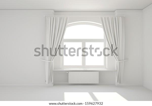 Empty White Room Window Curtain Minimal Stock Illustration